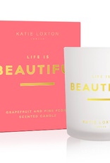 Katie Loxton Sentiment Candle - Life Is Beautiful - Grapefruit and Pink Peony