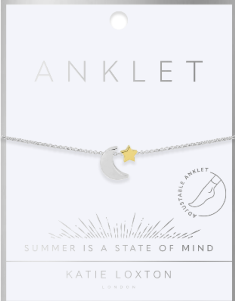 Katie Loxton Two Tone Moon and Star Anklet