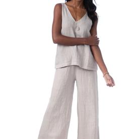 Lenore Wide-leg Latte Linen Pants - Large-X-Large