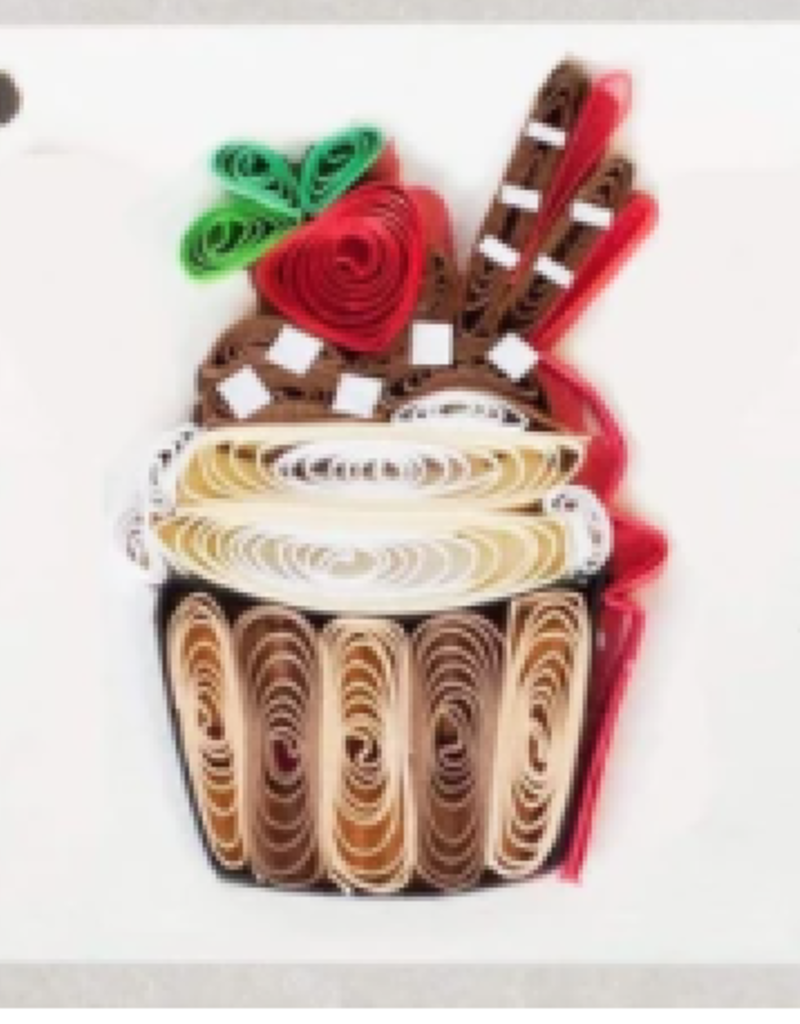 Chocolate Cupcake Quilling Gift Tag - Single