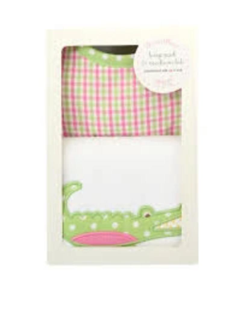 Pink Alligator Bib & Burp Box Set - Plaid