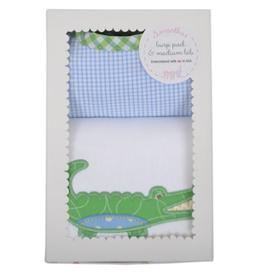 Blue Alligator Bib & Burp Box Set - Plaid