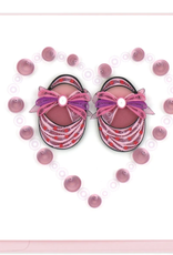 Pink Baby Booties Quilling Card