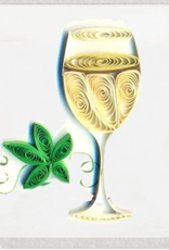 White Wine Quilling Gift Tag - Single