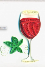 Red Wine Quilling Gift Tag - Single