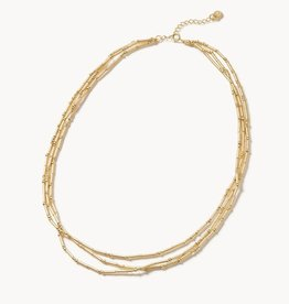 """Spartina 449, LLC Triple Bitty Bead Necklace 15"""" - Gold"""