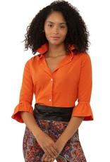 Gretchen Scott Priss Chiffon Blouse Orange