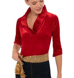 Gretchen Scott Ruffneck Top Silky Velvet - Red
