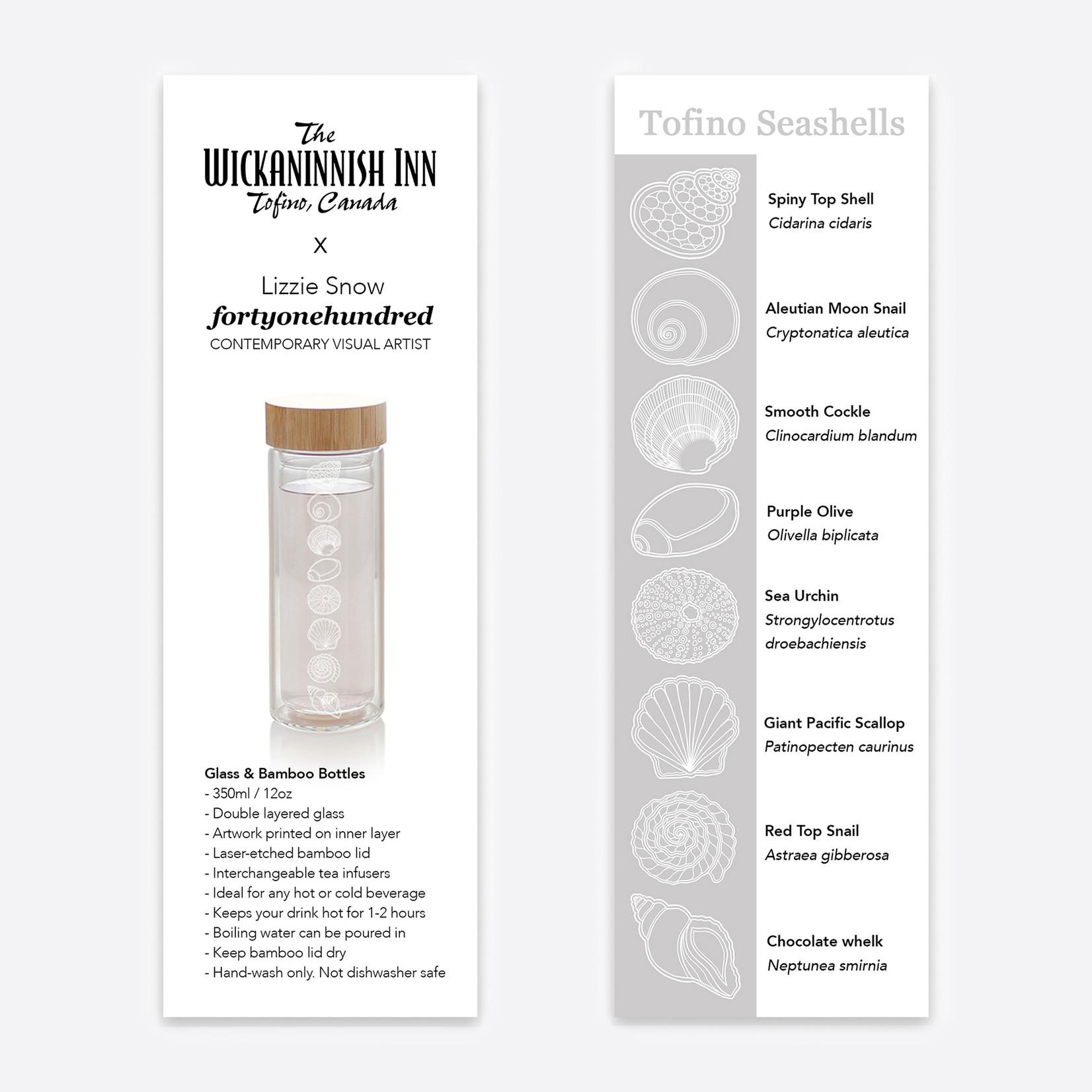 fortyonehundred Glass & Bamboo Bottle (Shells)