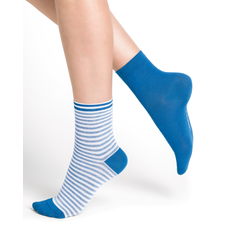 BLUE FORET DUO FRENCH RIBBED SOCKS AZUR / BLEU
