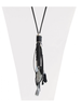 CARACOL CARACOL LONG NECKLACE PENDANT FEATHER AND POMPON BLACK