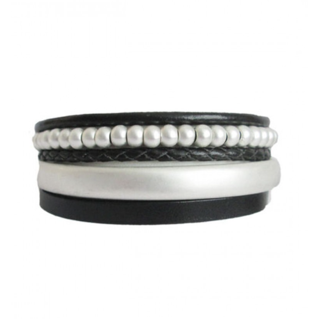 CARACOL CARACOL BRACELET LEATHER PEARL BLACK