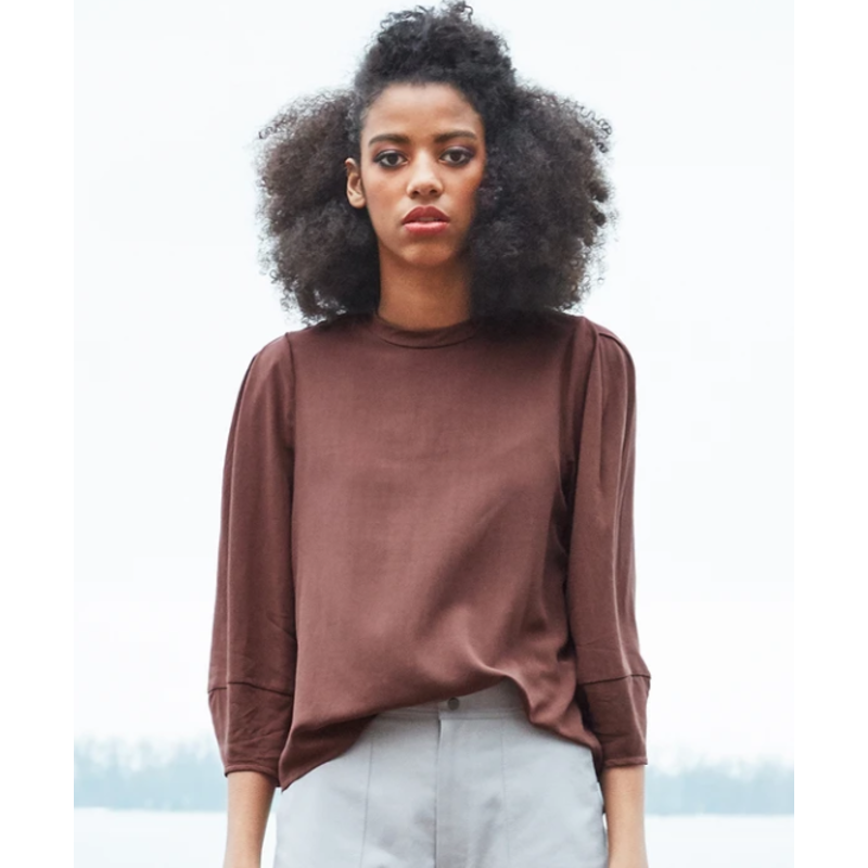 DAGG AND STACEY DAGG AND STACEY BLOUSE BERGEN MAHOGANY