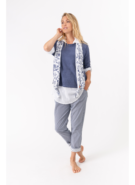 M MADE IN ITALY M MADE IN ITALY TRIO CHEMISE-TRICOT-FOULARD MARINE/BLANC