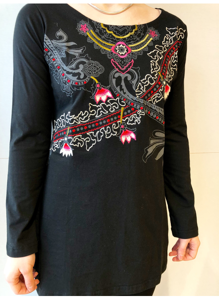 LEOPARDS AND ROSES LEOPARDS AND ROSES TUNIQUE EMBROIDERY NOIR/ROSE