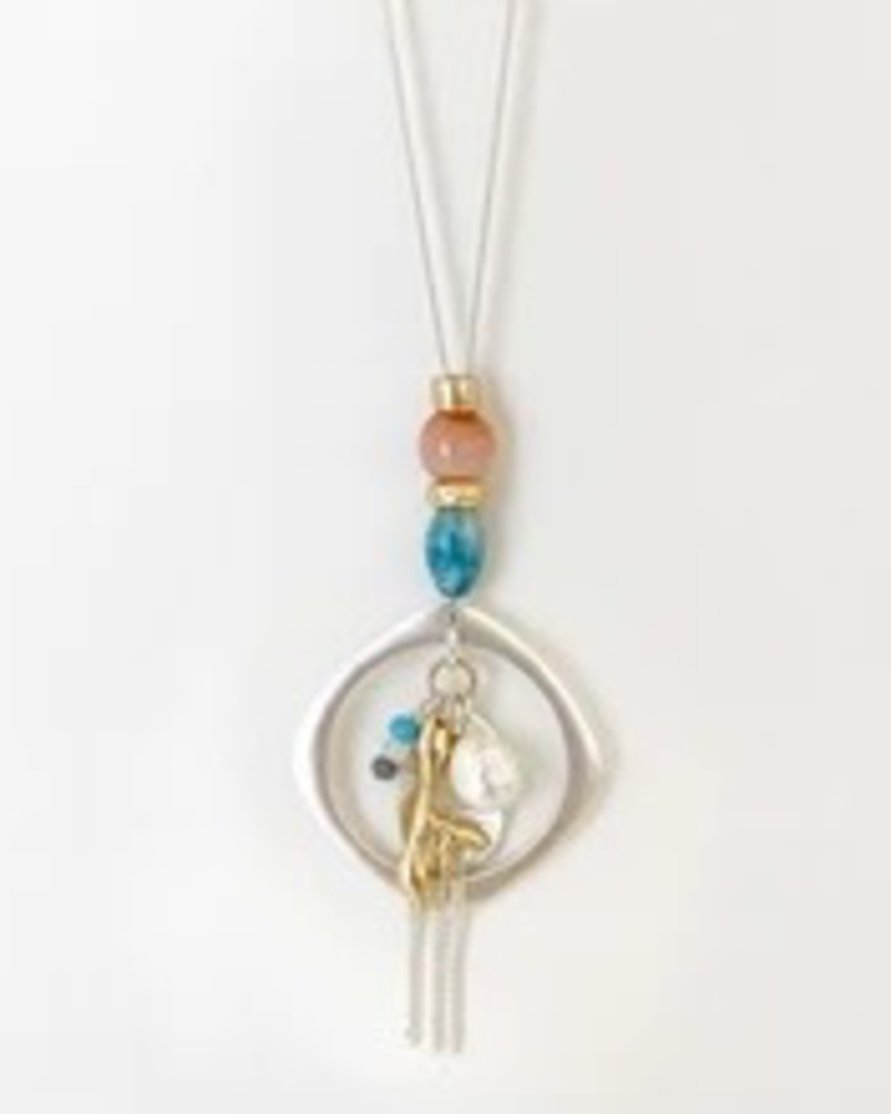 CARACOL CARACOL LONG COLLIER CHAINES BRELOQUES CORAIL