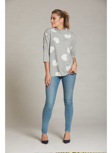 LUC FONTAINE LUC FONTAINE HOODIE SWEET GRIS A POIS