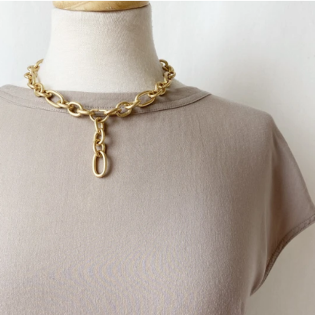 CARACOL CARACOL COLLIER MAXI MAILLES METAL FINI USE DORE MAT