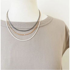 CARACOL CARACOL COLLIER 3 RANGS CHAINES OR/ARGENT/HEM