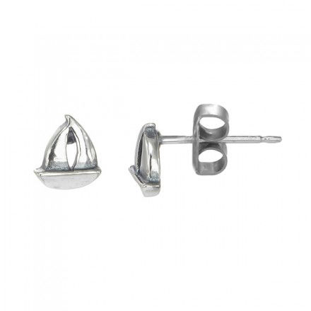 BOMA STERLING SILVER SAILBOAT STUD EARRINGS