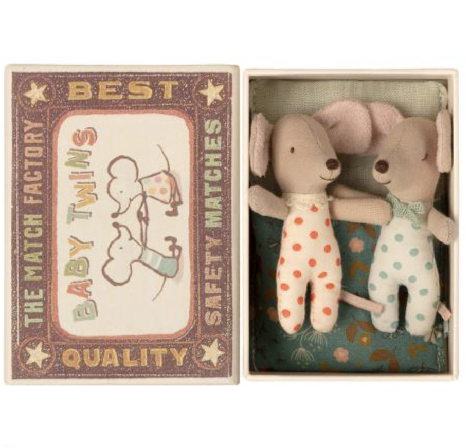 MAILEG BABY MICE TWINS IN A MATCHBOX