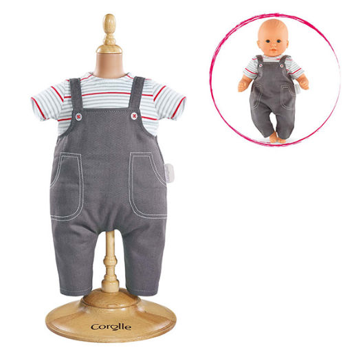 """COROLLE SMOCK AND DENIM OVERALL FOR 14"""" BABY DOLL"""