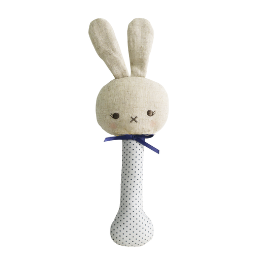 ALIMROSE BABY BUNNY STICK RATTLE WITH NAVY SPOT
