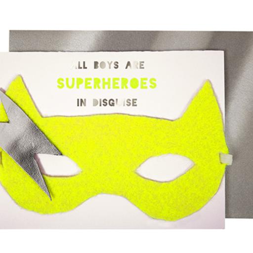 MERI MERI BOY SUPERHERO MASK CARD