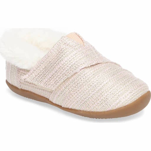 TOMS SHOES ROSE GOLD TWILL TINY TOMS SLIPPER
