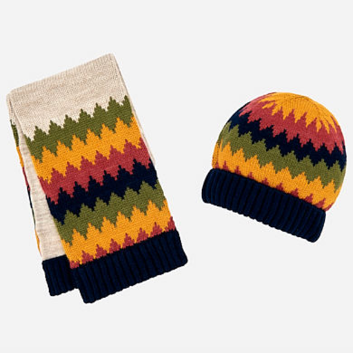 MAYORAL USA SET OF ZIG-ZAG PATTERN BEANIE HAT AND SCARF