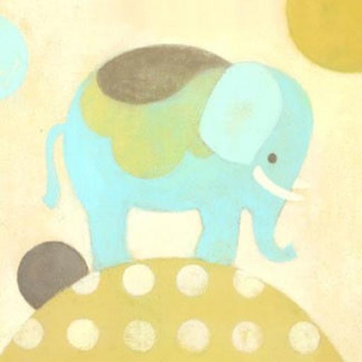 OOPSY DAISY ELLA ELEPHANT - BLUE - WALL ART 10X14