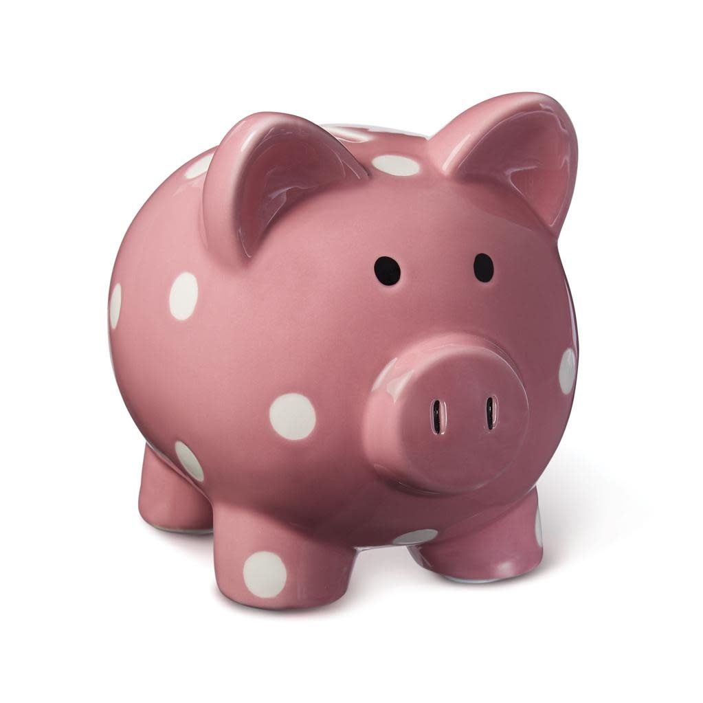 ELEGANT BABY CLASSIC DOT PIGGY BANK - RIBBON PINK PIG