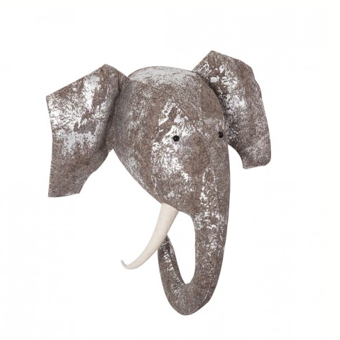 FIONA WALKER FIONA WALKER ENGLAND FOIL GREY SILVER ELEPHANT HEAD WALL MOUNT