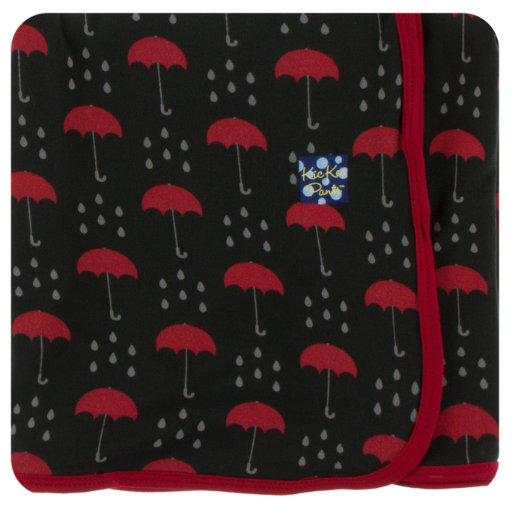 KICKEE PANTS PRINT SWADDLING BLANKET IN UMBRELLAS & RAIN CLOUDS