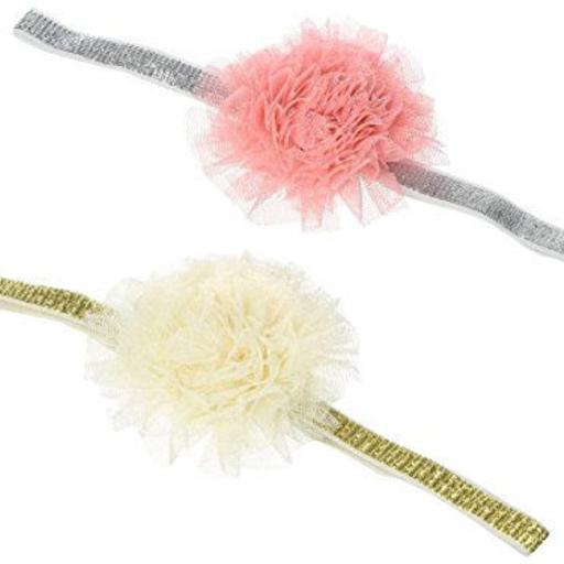 PEPPERCORN KIDS LITTLE GIRLS LACE FLOWER METALLIC HEADBAND