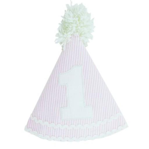 RUFFLEBUTTS, INC. PINK SEERSUCKER BIRTHDAY HAT