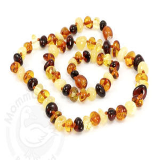 MOMMA GOOSE PRODUCTS ADULT AMBER HEALING NECKLACE- BAROQUE MULTI