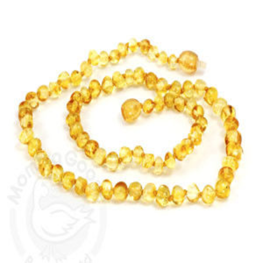 MOMMA GOOSE PRODUCTS ADULT AMBER HEALING NECKLACE- BAROQUE LEMON