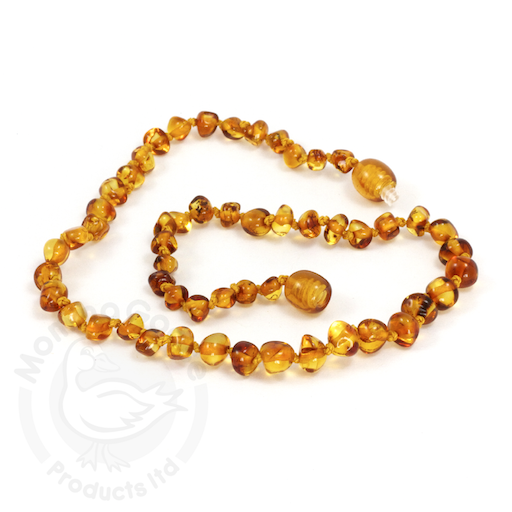 MOMMA GOOSE PRODUCTS YOUTH AMBER HEALING NECKLACE-BAROQUE HONEY