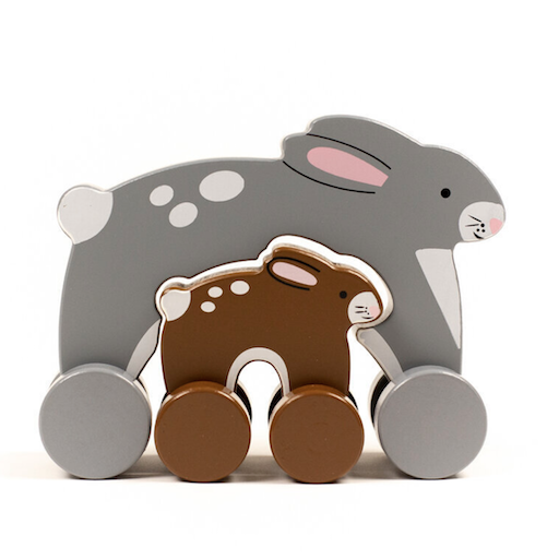 JACK RABBIT CREATIONS BIG AND LITTLE BUNNY PUSH TOY