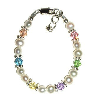 CHERISHED MOMENTS, LLC NEW ARRIVAL BRACELET- FRESHWATER PEARLS WITH PASTEL CRYSTALS