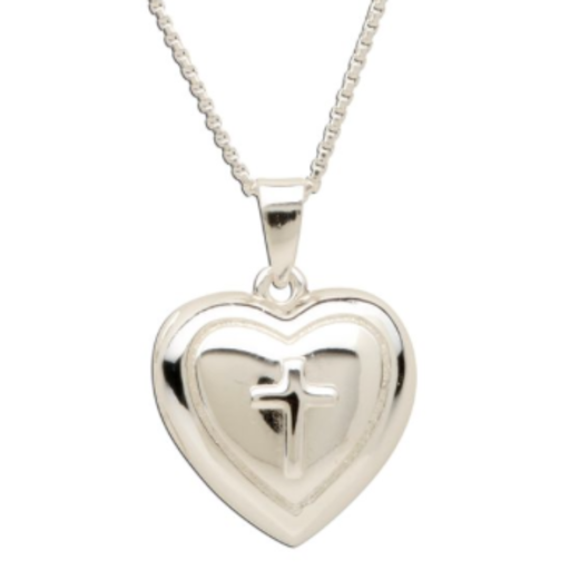 CHERISHED MOMENTS, LLC STERLING SILVER HEART LOCKET WITH CROSS NECKLACE