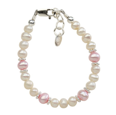 CHERISHED MOMENTS, LLC SILVER BRACELET WITH PINK & WHITE FRESHWATER PEARLS