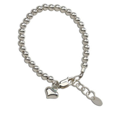 CHERISHED MOMENTS, LLC STERLING SILVER BRACELET WITH SILVER BEAD AND PUFF HEART