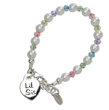 CHERISHED MOMENTS, LLC SILVER BRACELET WITH PEARLS & MULTICOLOR CRYSTALS