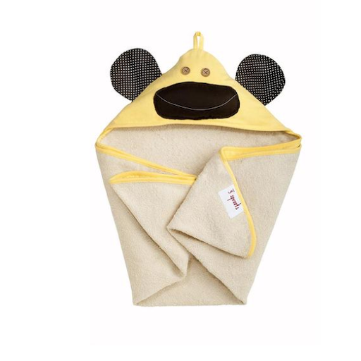 3 SPROUTS 3 SPROUTS YELLOW MONKEY HOODED TOWEL