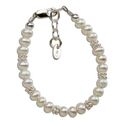 CHERISHED MOMENTS, LLC SILVER BRACELET WITH FRESHWATER PEARLS & DAISY ACCENTS
