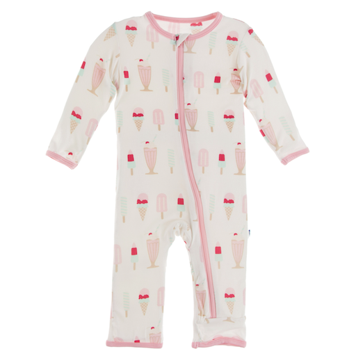 KICKEE PANTS PRINT COVERALL WITH ZIPPER IN NATURAL ICE CREAM SHOP