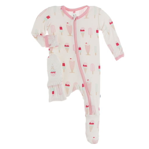 KICKEE PANTS PRINT FOOTIE WITH ZIPPER IN NATURAL ICE CREAM SHOP