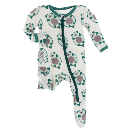 KICKEE PANTS PRINT FOOTIE WITH ZIPPER IN NATURAL OTTERCADO